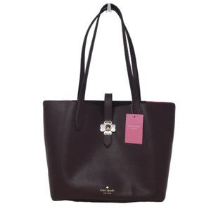Kate Spade Kaci Black Cherry Leather Small Tote